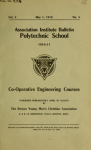 Parchment colored title page of 1910-1911 Co-Operative Engineering Course Catalog