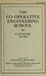 Parchment colored title page for the 1913-1914 Co-Operative Engineering School Course Catalog