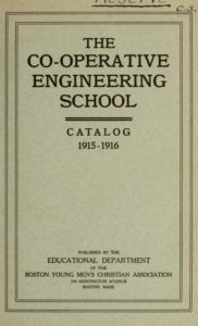 Parchment colored cover of the 1915-1916 Co-Operative Engineering School Course Catalog