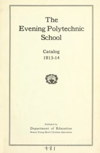 Parchment colored title page of the 1913-1914 Evening Polytechnic School Course Catalog