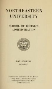 Parchment colored title page of the 1924-1925 School of Business Administration Day Sessions Course Catalog