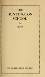 Parchment colored cover of the 1923-1924, 1924-1925 Huntington School for Boys Course Catalog