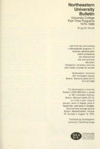 Parchment colored title page of the 1979-1980Part-time Programs Course Descriptions