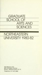 Parchment colored title page of the 1980-1982 Graduate School of Arts and Sciences Course Descriptions