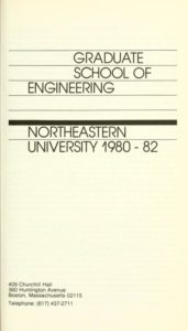 Parchment colored title page for the 1980-1982Graduate School of Engineering Course Descriptions