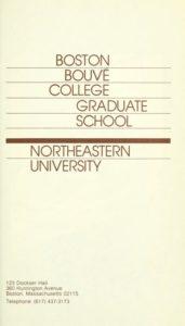 Parchment colored title page of 1980-1982 Boston-Bouvé College Graduate School Course Catalogs