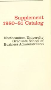 Parchment colored title page of the 1980-1981 Graduate School of Business Administration Supplemental Course Descriptions
