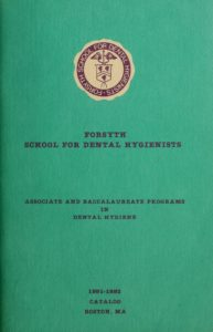 Turquoise colored cover of the 1991-1992 Forsyth Dental Center School for Dental Hygienists Course Catalog