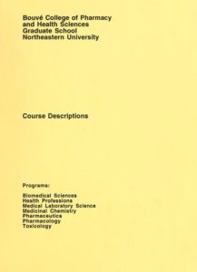 Yellow-colored title page of the 1996-1998 Bouvé College of Pharmacy and Health Sciences Graduate School Course Descriptions