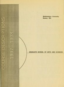 Parchment colored title page of the 1997-1998 Graduate School of Arts and Sciences Course Descriptions