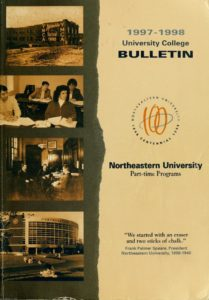 Parchment colored and photographic print front cover of the 1997-1998 University College Bulletin for Part-time Programs