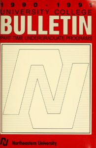 Red and white colored front cover of the 1990-1991 University College Bulletin Part-time Undergraduate Programs