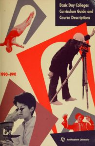 Photographic and Illustrated Multi-color cover of the 1990-1991Basic Day Colleges Curriculum Guide and Course Descriptions