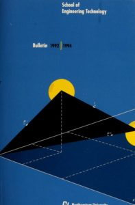 Blue colored graphic front cover of the 1992-1994 School of Engineering Technology Bulletin