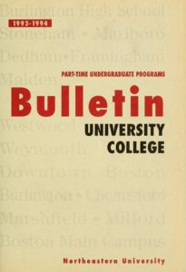 Multi-colored title page of the 1993-1994 University College Part-time Undergraduate Programs Bulletin