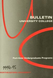 Red, Black and White cover page of the 1994-1995 University College Bulletin for Part-time Undergraduate Programs