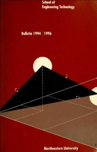Red colored illustrated cover page of the 1994-1996 School of Engineering Technology Bulletin