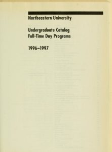 Parchment colored title page of the 1996-1997 Undergraduate Catalog Full-Time day Programs