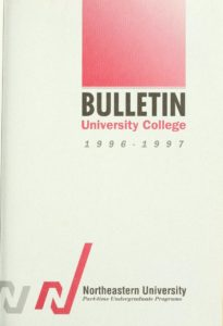 Red and white cover page of the 1996-1997 University College Bulletin