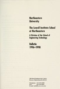 Parchment colored title page of the 1996-1998 The Lowell Institute School Course Bulletin