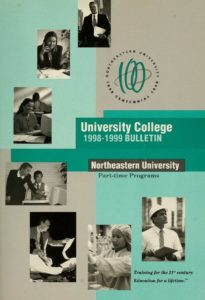 Green and Gray cover page of the 1998-1999 University College Part-time Programs Bulletin