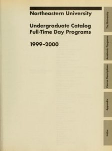 Parchment-colored title page of the 1999-2000 Undergraduate Catalog Full-Time Day Programs