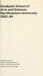 Parchment colored title page of the 1982-1984 Graduate School of Arts and Sciences