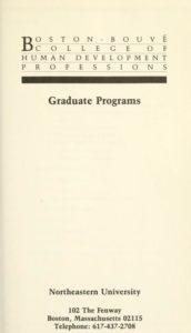 Parchment colored title page of the 1981-1982 Boston-Bouvé College Graduate Programs Course Catalog