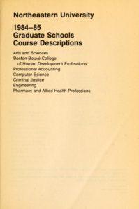 Parchment colored title page of the 1984-1985Graduate Schools Course Descriptions