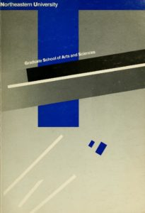 Multi-colored graphic cover page of the 1985, 1986, 1987 Graduate School of Arts and Sciences Course Catalog