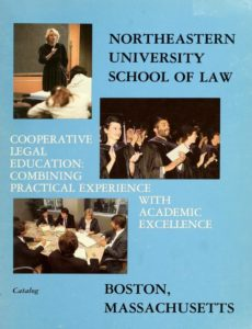 Multimedia blue cover of the 1985School of Law Course Catalog