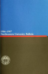 Blue and Black colored cover page of the 1986-1987 Basic College Bulletin