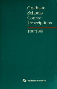 Green colored cover page of the 1987-1988 Graduate Schools Course Descriptions