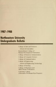 Parchment colored title page of the 1987-1988 Undergraduate Bulletin
