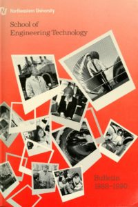 Multi-colored graphic cover of the 1988, 1989, 1990 School of Engineering Technology Course Catalog