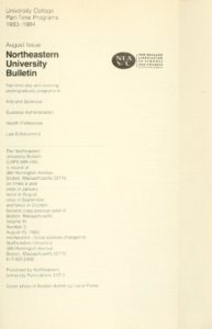 Parchment colored title page of the August 1983-1984 University College Part-Time Programs Bulletin