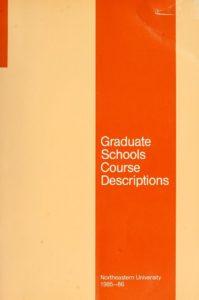Orange colored cover page of the 1985-1986 Graduate Schools Course Descriptions