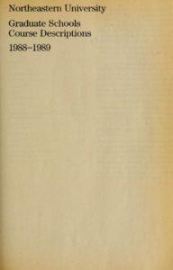 Parchment-colored title page of the 1988-1989 Graduate Schools Course Descriptions