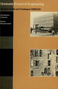 Color Illustrated cover of the 1988-1989 Graduate School of Engineering Course Catalog