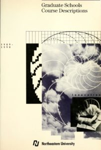 Black and White graphic cover of the 1989-1990 Graduate Schools Course Descriptions
