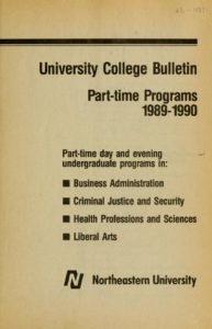 Parchment colored title page of the 1989-1990 Part-time Programs University College Bulletin