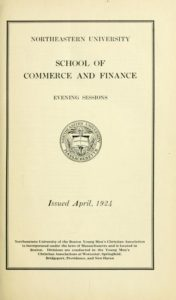 Parchment-colored title page of the 1924-1925 School of Commerce and Finance Evening Sessions Course Catalog