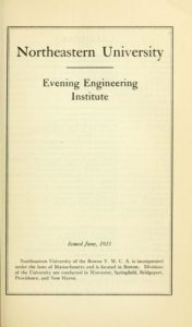 Parchment-colored title page of the 1923-1924, 1924-1925 Evening Engineering Institute Course Catalog