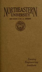 Dark parchment-colored cover page of the 1923-1924, 1924-1925 New Haven Y.M.C.A. Division Evening Engineering Institute Course Catalog