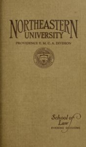 Dark Parchment-colored cover page of the 1924-1925 Providence Y.M.C.A. Division School of Law Evening Sessions Course Catalog