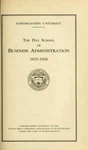 Parchment-colored title page of the 1925-1926 The Day School of Business Administration Course Catalog