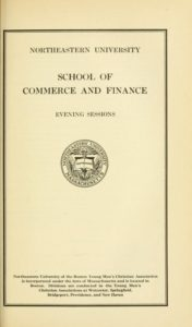 Parchment-colored title page of the 1925-1926 School of Commerce and Finance Evening Sessions Course Catalog