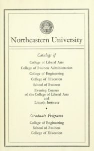 Parchment-colored title page of the 1956-1957 Course Catalogs