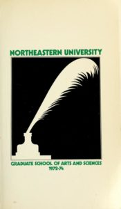 Black and green graphic illustrated cover of the 1972-1974Graduate School of Arts and Sciences