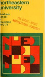 Multi-colored cover of the 1973-1974 Graduate School ofEducation